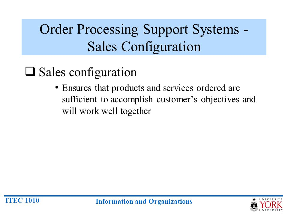 Order Processing Support Systems - Sales Configuration