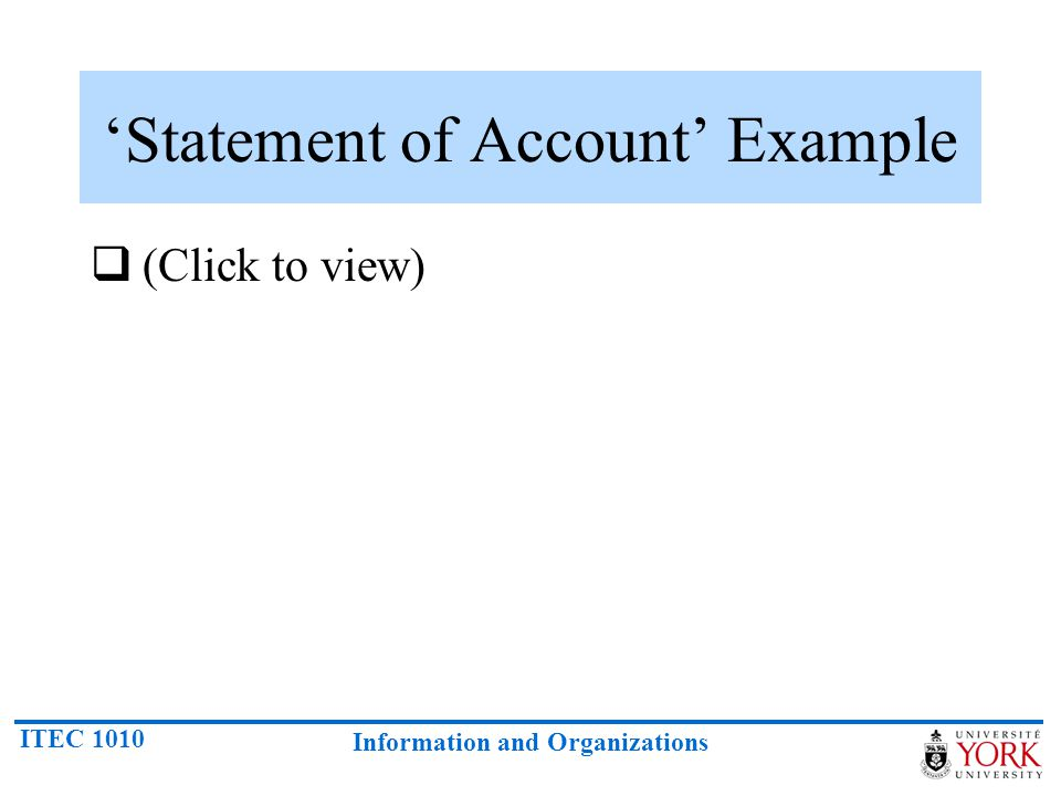 'Statement of Account' Example