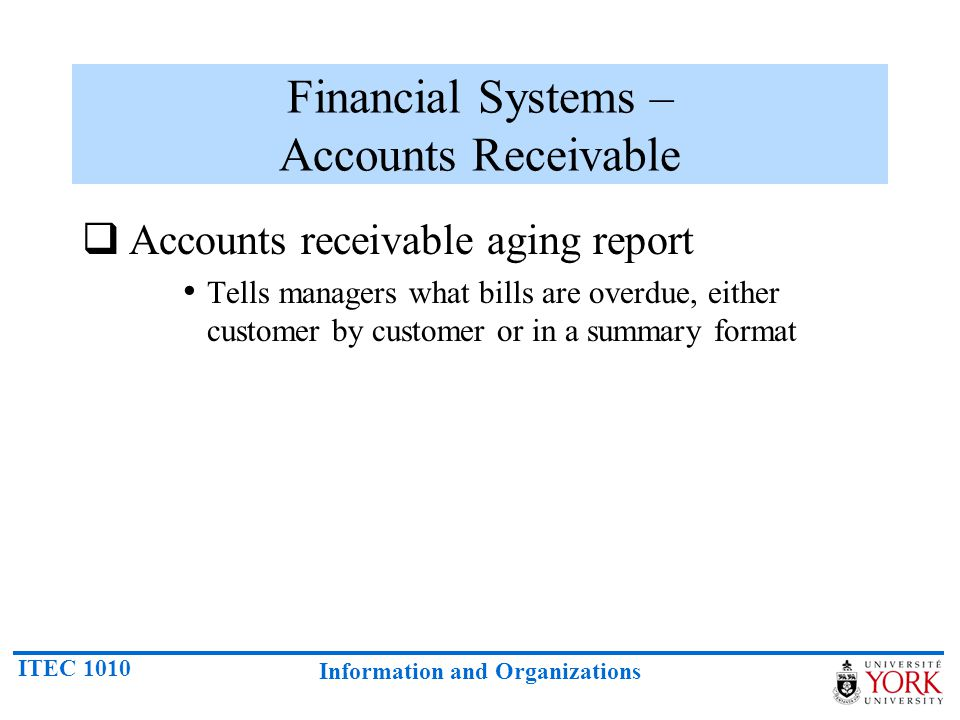 Financial Systems – Accounts Receivable