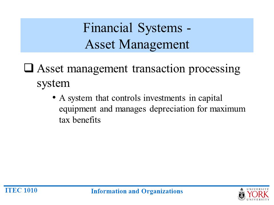 Financial Systems - Asset Management