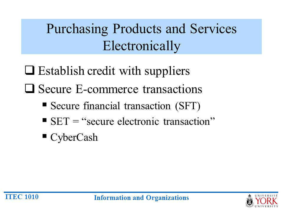 Purchasing Products and Services Electronically