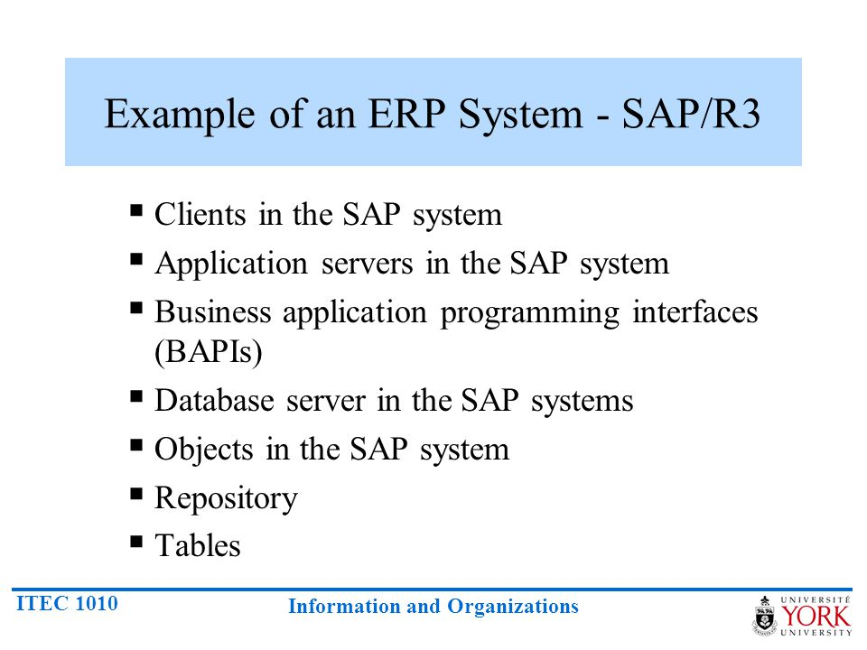 Example of an ERP System - SAP/R3