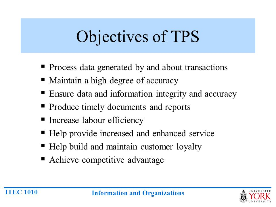 Objectives of TPS Process data generated by and about transactions