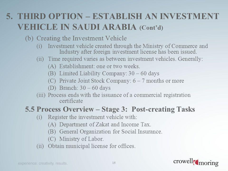 5. third option – establish an Investment vehicle in saudi arabia (Cont'd)