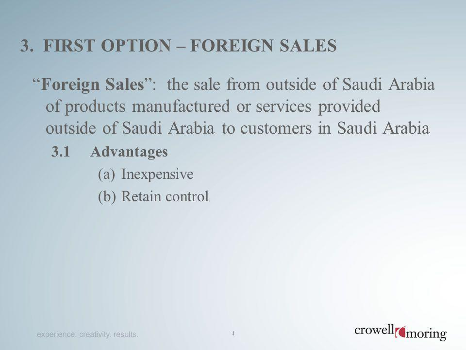 3. first option – foreign Sales