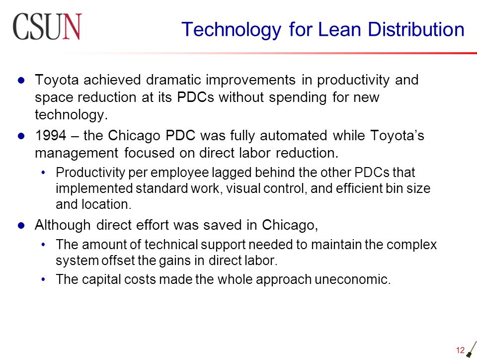 Technology for Lean Distribution