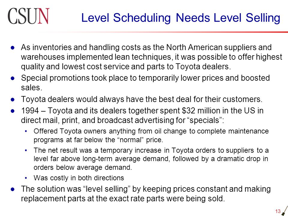 Level Scheduling Needs Level Selling