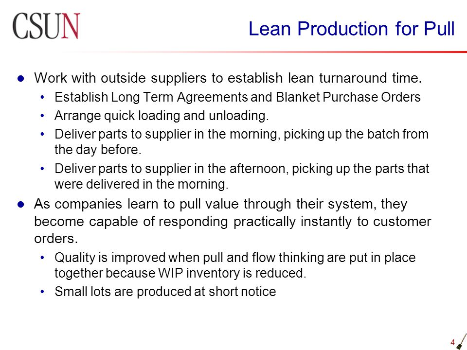 Lean Production for Pull