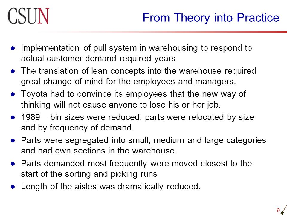 From Theory into Practice