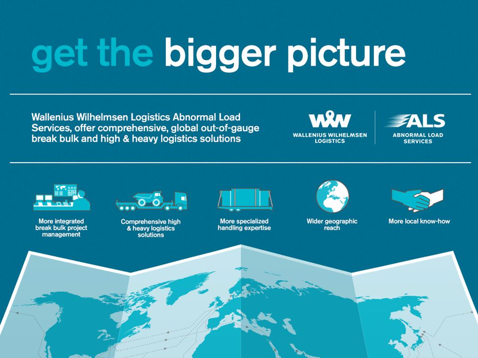 October 2012 Wallenius Wilhelmsen Logistics aquires the majority stake of Abnormal Load Services to strenghten the Inland Operations Offer to Clients.