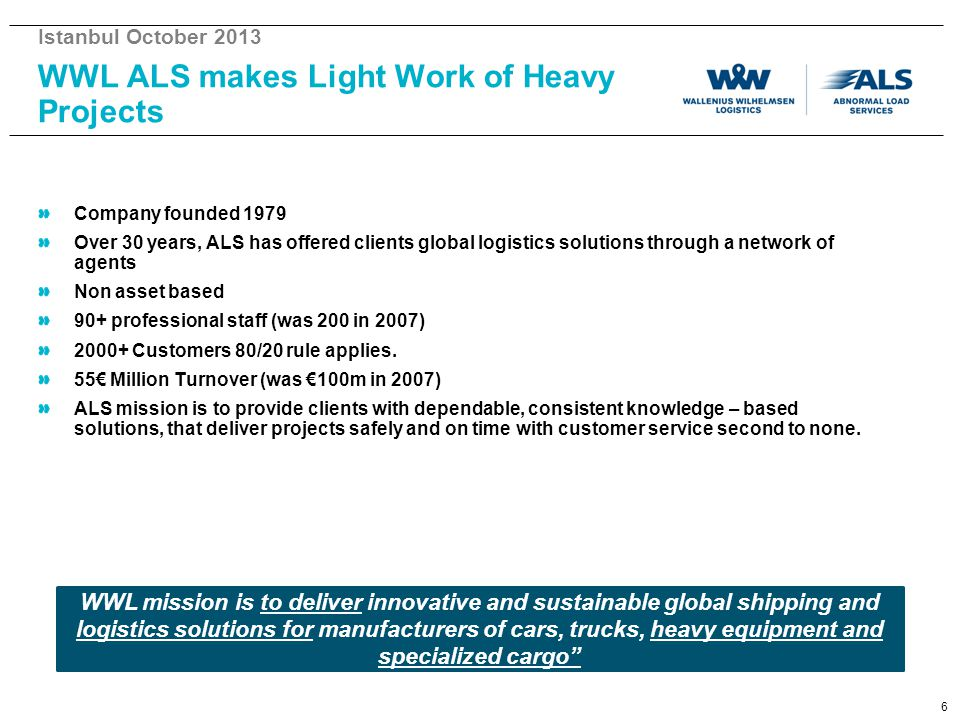 WWL ALS makes Light Work of Heavy Projects