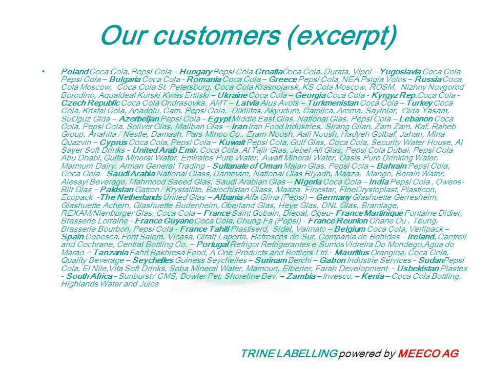 Our customers (excerpt)