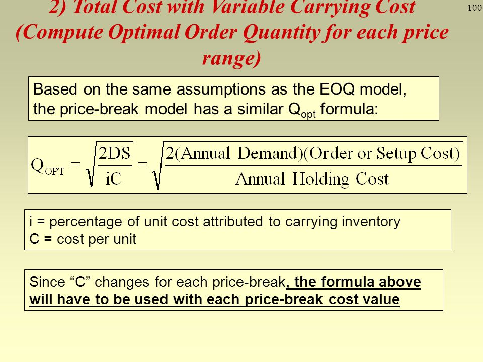 2) Total Cost with Variable Carrying Cost (Compute Optimal Order Quantity for each price range)