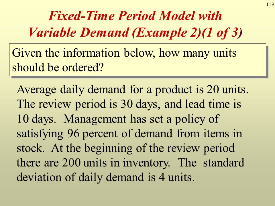 Fixed-Time Period Model with Variable Demand (Example 2)(1 of 3)