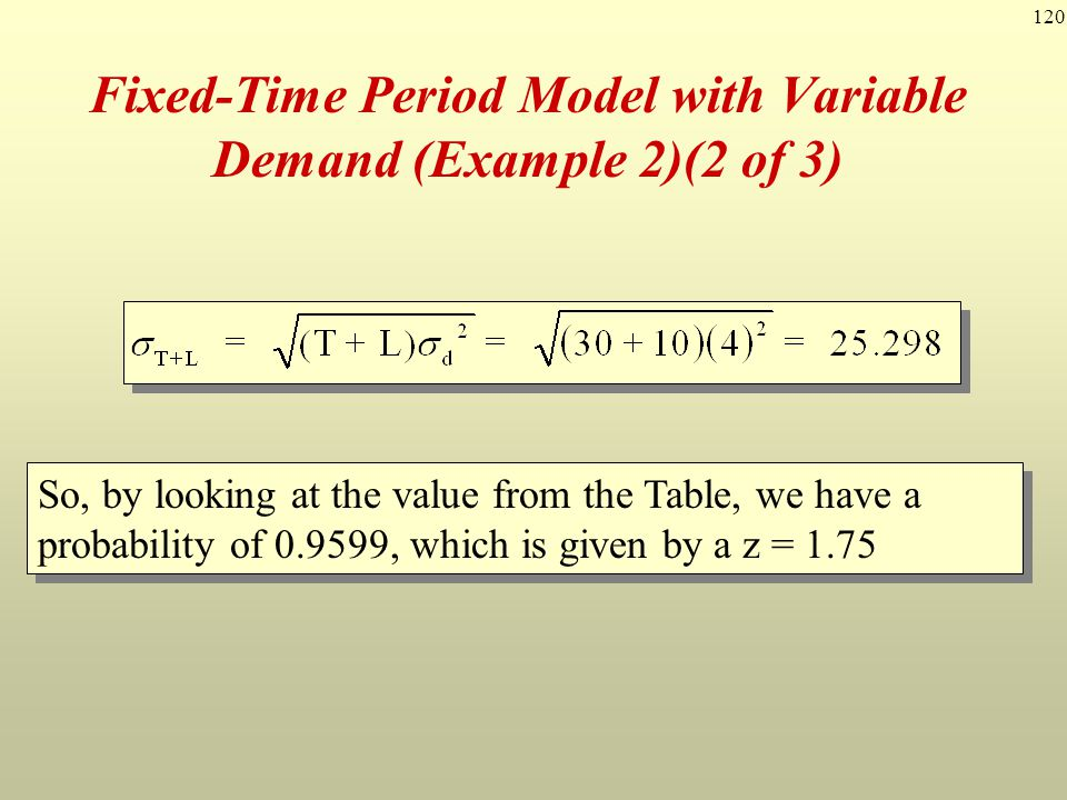 Fixed-Time Period Model with Variable Demand (Example 2)(2 of 3)