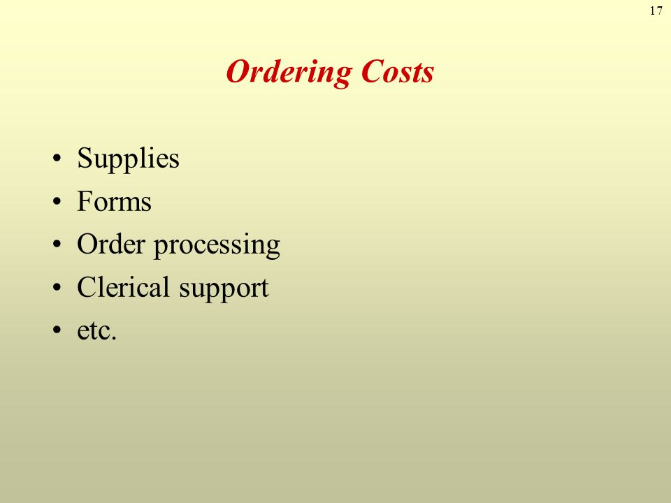 Ordering Costs Supplies Forms Order processing Clerical support etc.