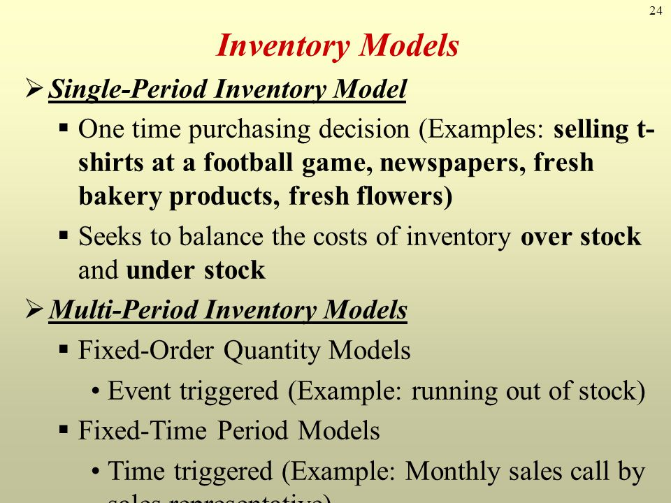 Inventory Models Single-Period Inventory Model