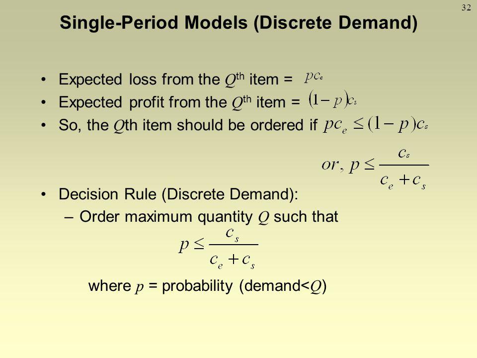 Single-Period Models (Discrete Demand)