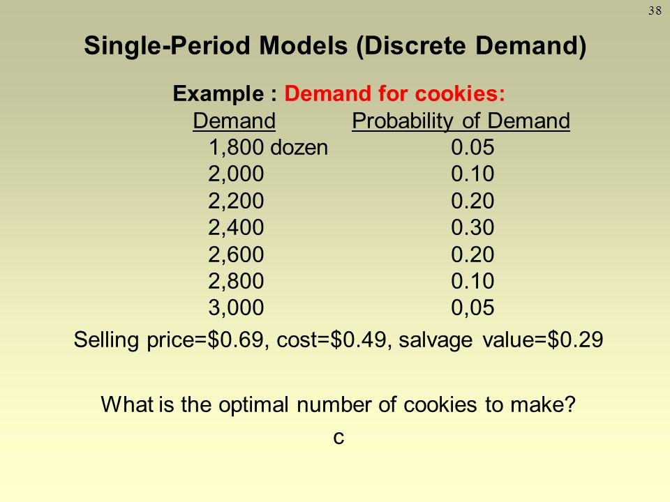 Single-Period Models (Discrete Demand) Example : Demand for cookies: