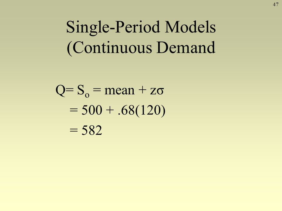 Single-Period Models (Continuous Demand