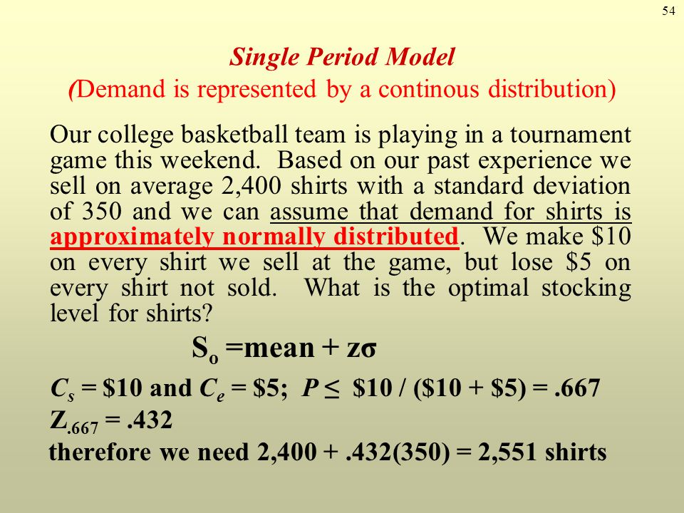 therefore we need 2,400 + .432(350) = 2,551 shirts