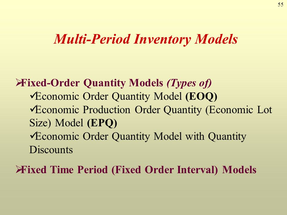 Multi-Period Inventory Models