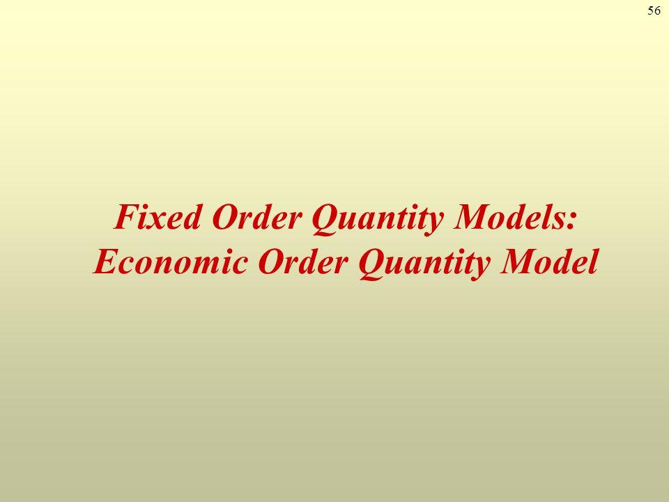 Fixed Order Quantity Models: Economic Order Quantity Model