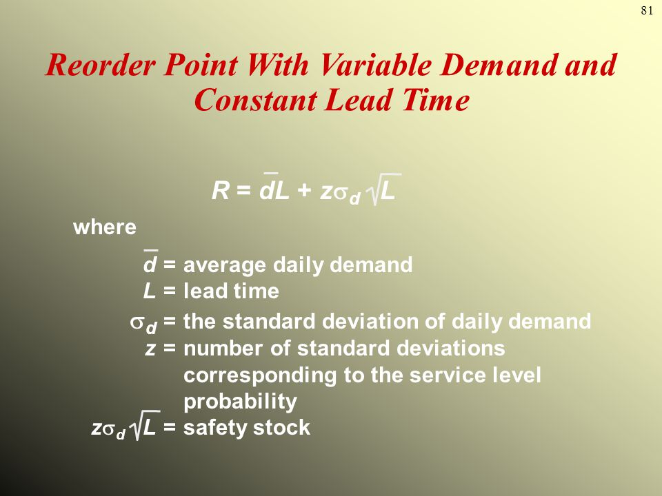Reorder Point With Variable Demand and Constant Lead Time