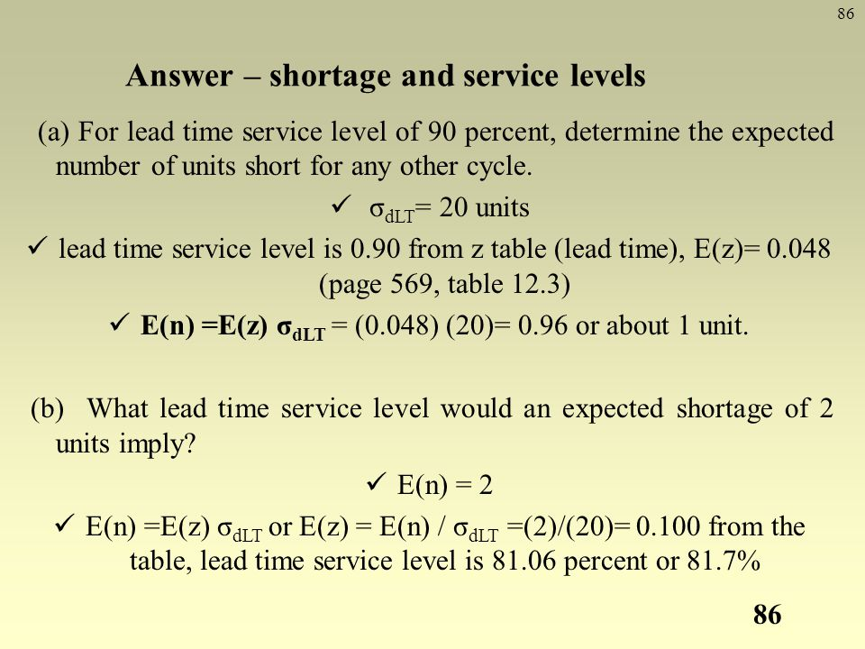 Answer – shortage and service levels