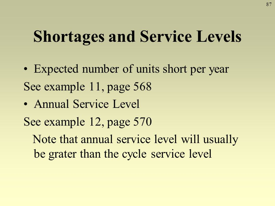 Shortages and Service Levels