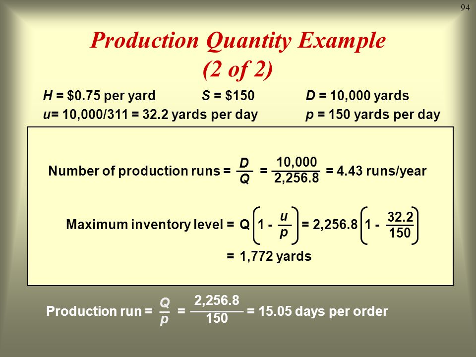 Production Quantity Example (2 of 2)