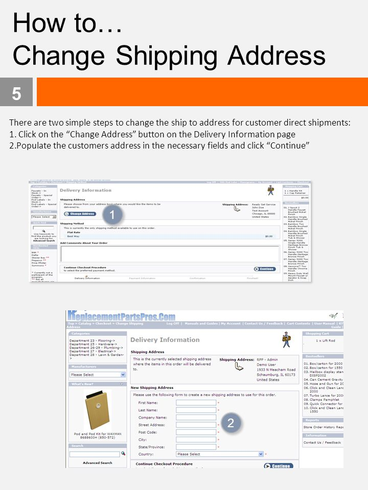 Change Shipping Address