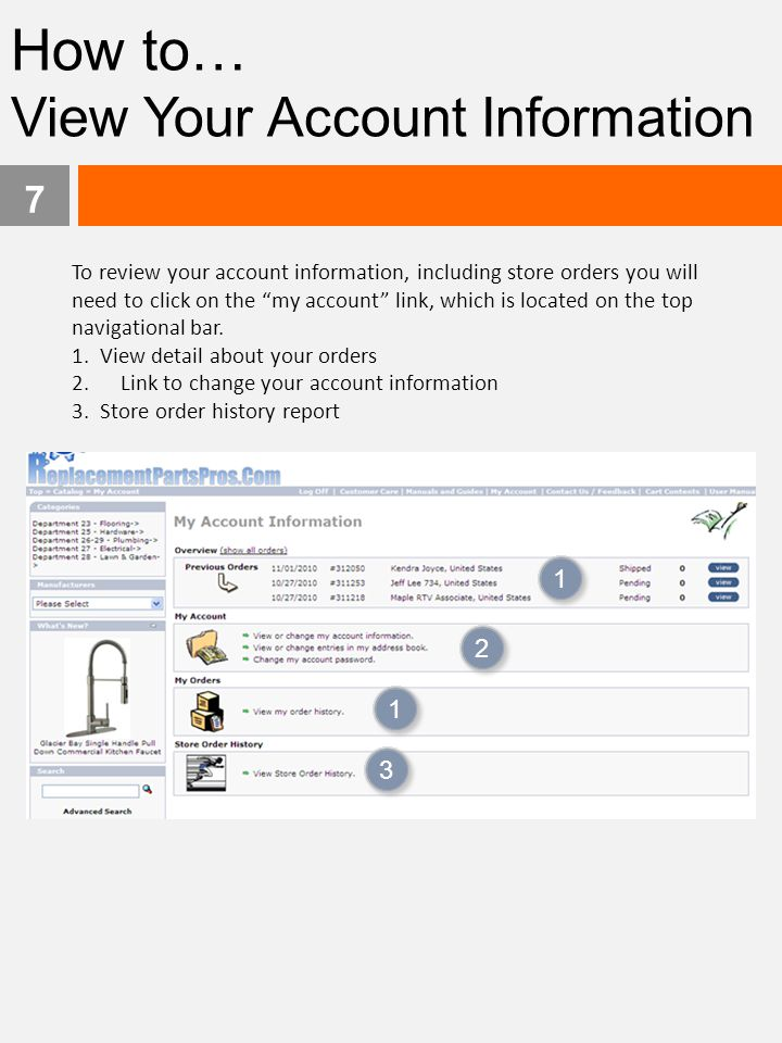 How to… View Your Account Information 1 2 1 3