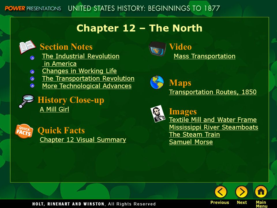 Chapter 12 – The North Section Notes Video Maps History Close-up