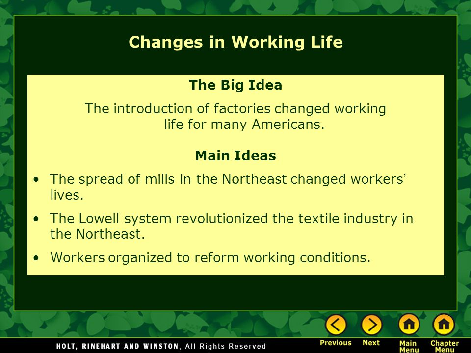 Changes in Working Life