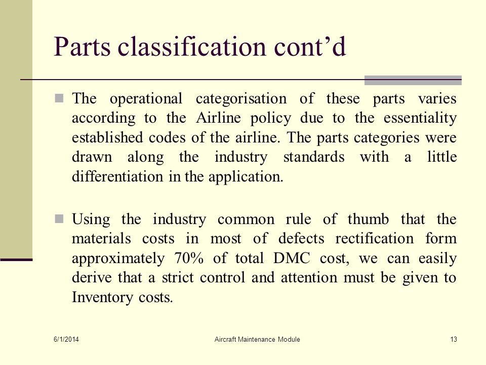 Parts classification cont'd