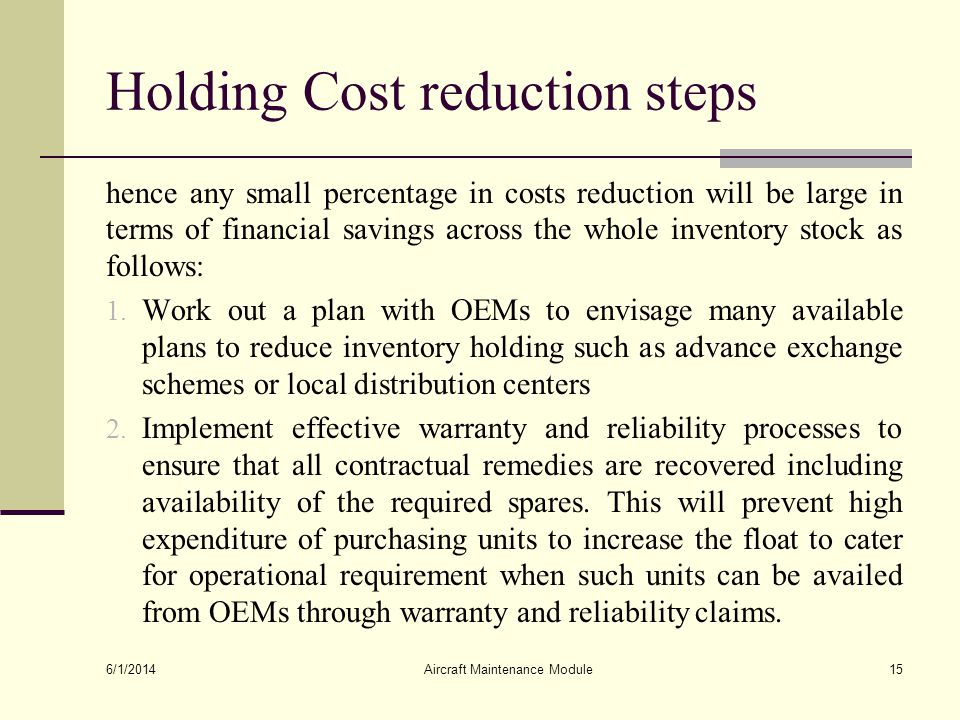 Holding Cost reduction steps