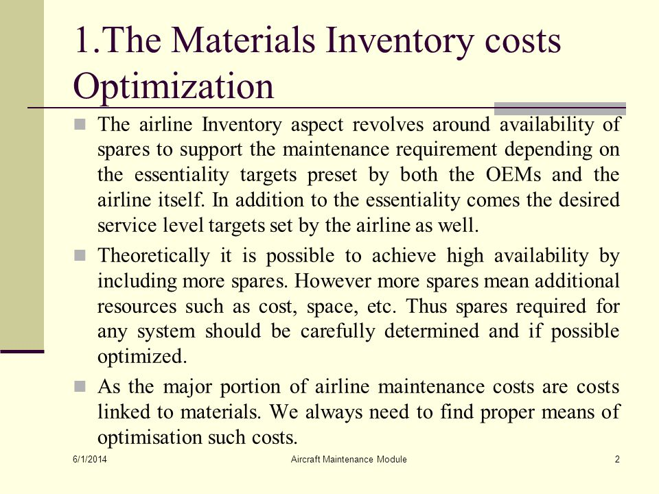 1.The Materials Inventory costs Optimization
