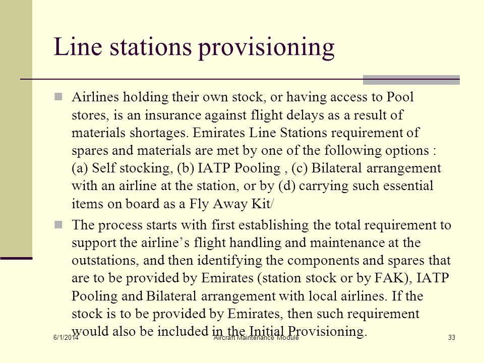 Line stations provisioning