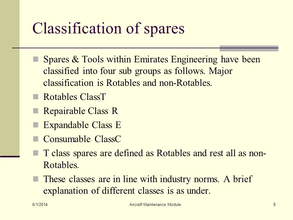 Classification of spares