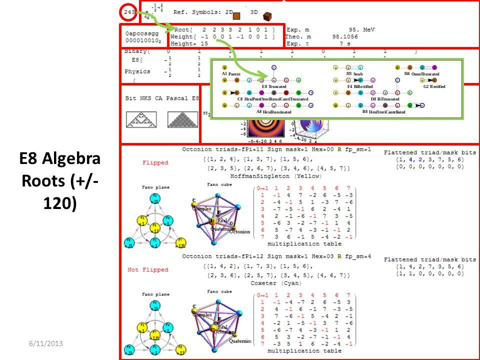 E8 Algebra Roots (+/- 120) 6/11/2013