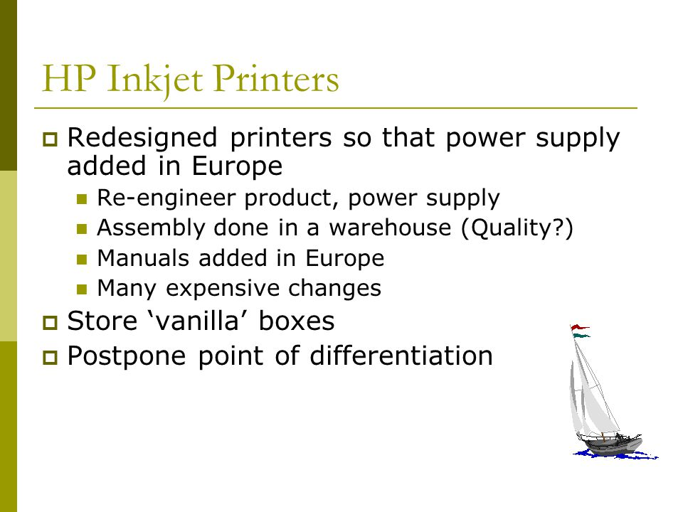 HP Inkjet Printers Redesigned printers so that power supply added in Europe. Re-engineer product, power supply.