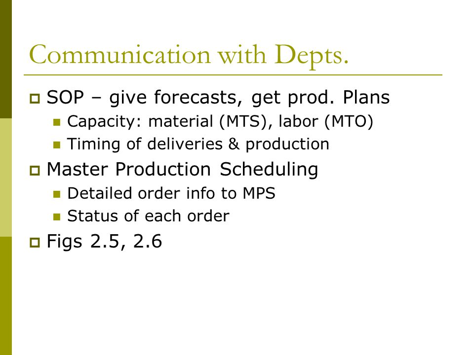 Communication with Depts.