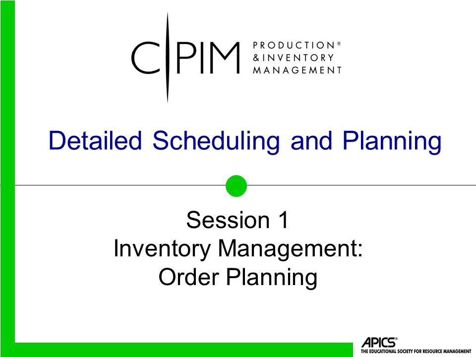 Detailed Scheduling and Planning