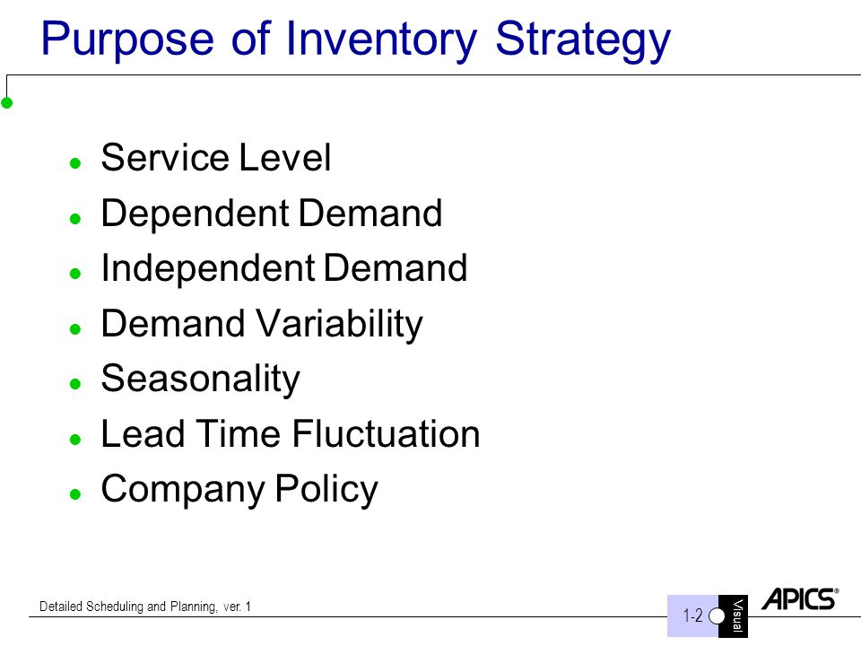 Purpose of Inventory Strategy