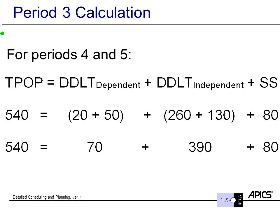 Period 3 Calculation For periods 4 and 5: