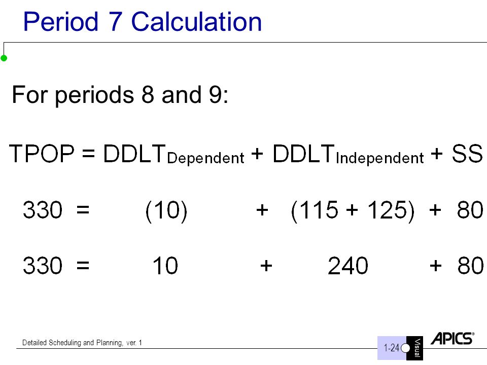 Period 7 Calculation For periods 8 and 9: