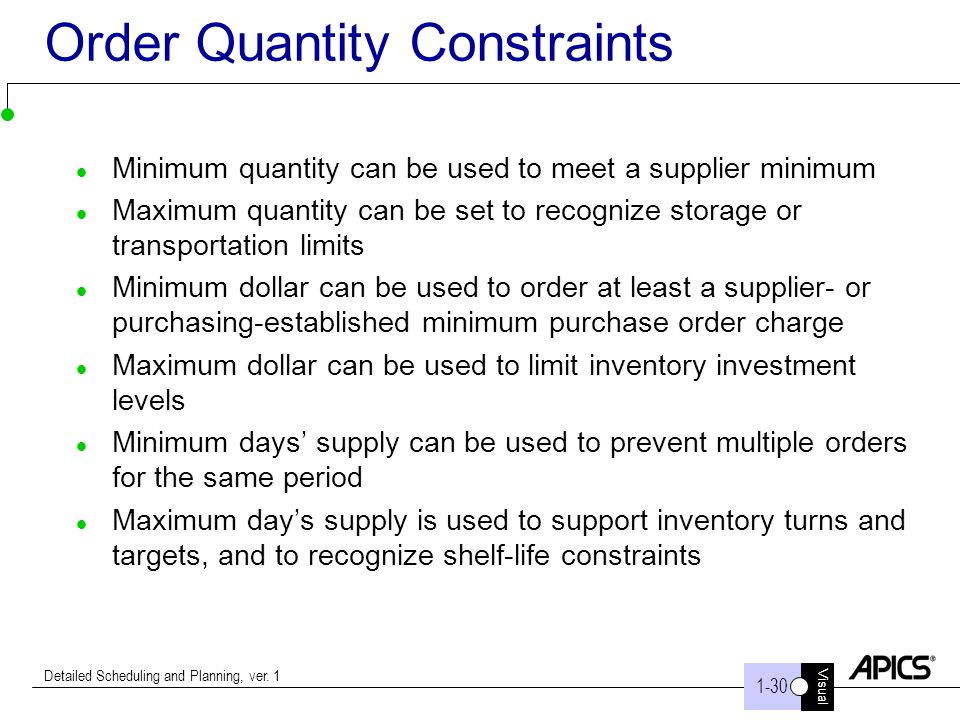 Order Quantity Constraints