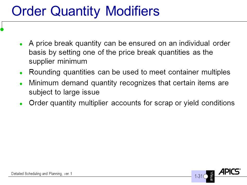Order Quantity Modifiers