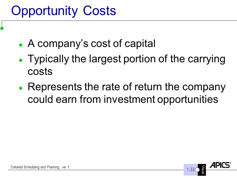 Opportunity Costs A company's cost of capital
